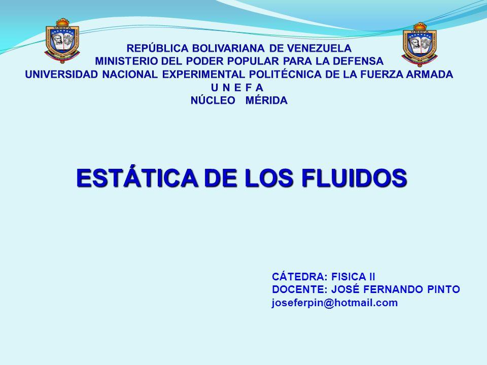 ESTÁTICA DE LOS FLUIDOS CÁTEDRA: FISICA II DOCENTE: JOSÉ FERNANDO PINTO joseferpin@hotmail.com