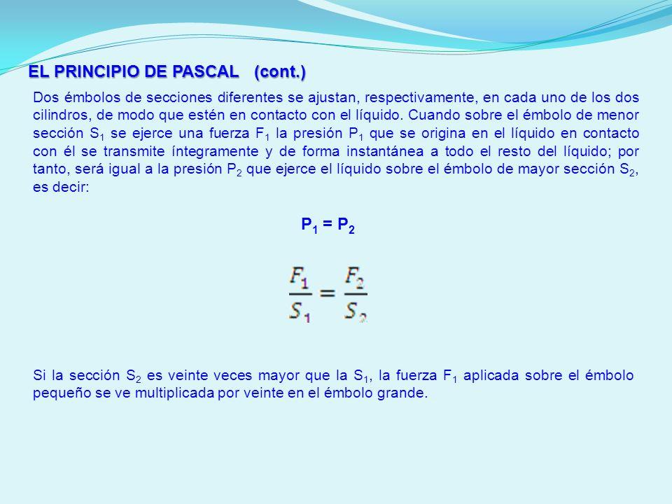 EL PRINCIPIO DE PASCAL (cont.) Dos émbolos de secciones diferentes se ajustan, respectivamente, en cada uno de los dos cilindros, de modo que estén en