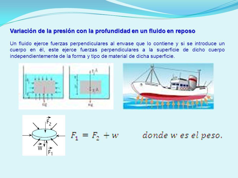 Variación de la presión con la profundidad en un fluido en reposo Un fluido ejerce fuerzas perpendiculares al envase que lo contiene y si se introduce