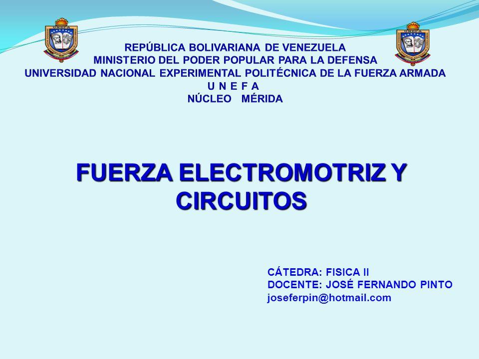 FUERZA ELECTROMOTRIZ Y CIRCUITOS CÁTEDRA: FISICA II DOCENTE: JOSÉ FERNANDO PINTO joseferpin@hotmail.com