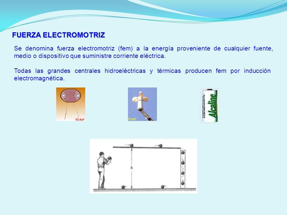 FUERZA ELECTROMOTRIZ Se denomina fuerza electromotriz (fem) a la energía proveniente de cualquier fuente, medio o dispositivo que suministre corriente
