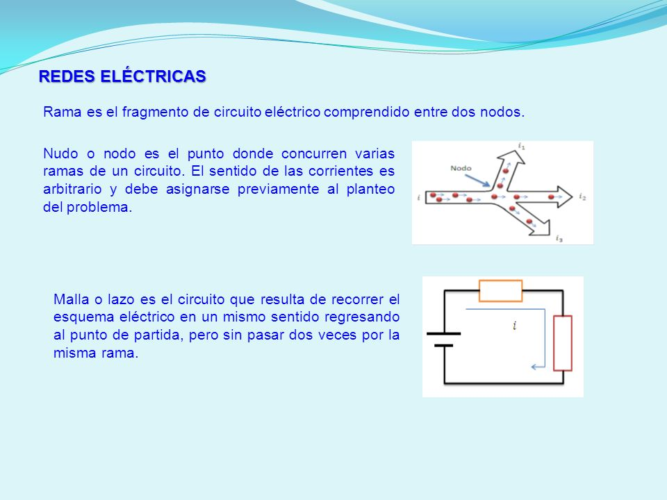 REDES ELÉCTRICAS Rama es el fragmento de circuito eléctrico comprendido entre dos nodos. Nudo o nodo es el punto donde concurren varias ramas de un ci