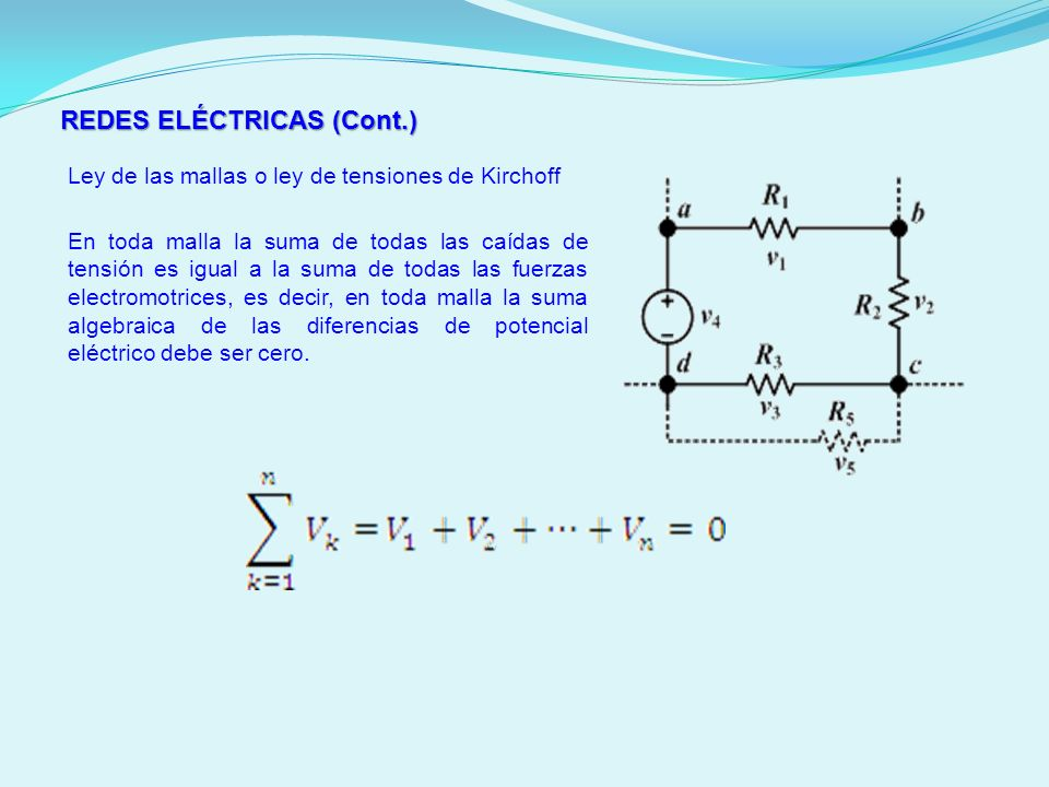 REDES ELÉCTRICAS (Cont.) Ley de las mallas o ley de tensiones de Kirchoff En toda malla la suma de todas las caídas de tensión es igual a la suma de t