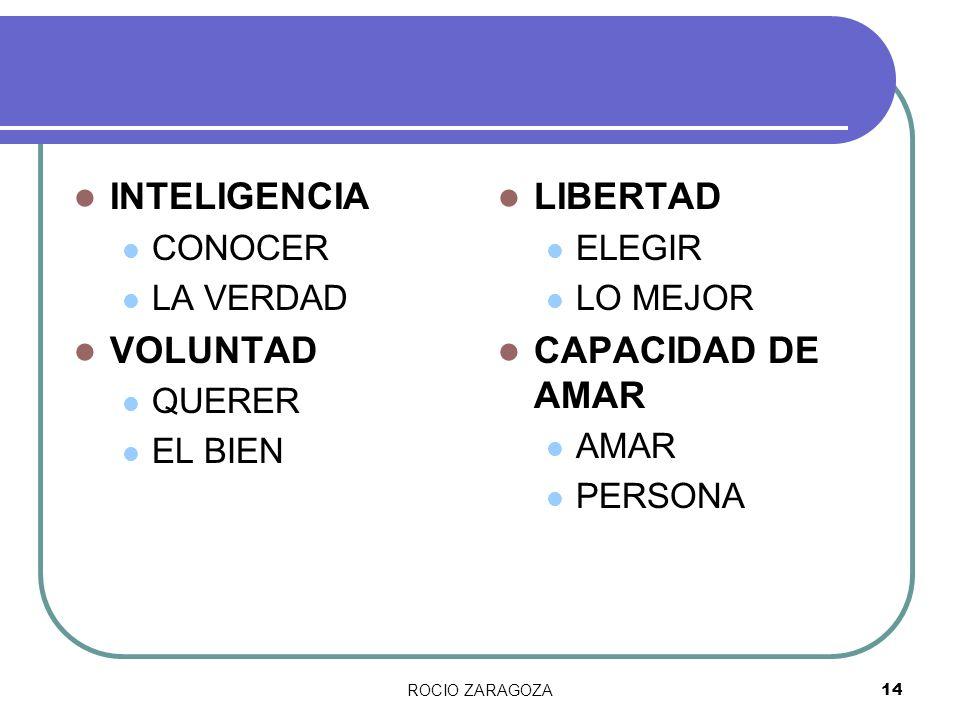 ROCIO ZARAGOZA14 INTELIGENCIA CONOCER LA VERDAD VOLUNTAD QUERER EL BIEN LIBERTAD ELEGIR LO MEJOR CAPACIDAD DE AMAR AMAR PERSONA