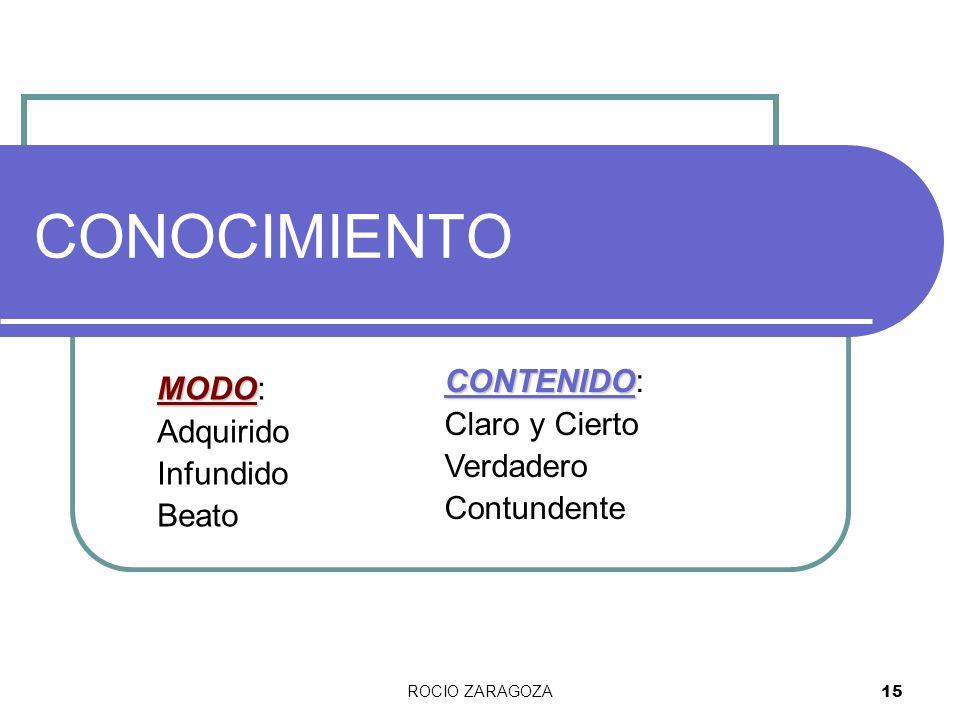 ROCIO ZARAGOZA 15 CONOCIMIENTO MODO MODO: Adquirido Infundido Beato CONTENIDO CONTENIDO: Claro y Cierto Verdadero Contundente