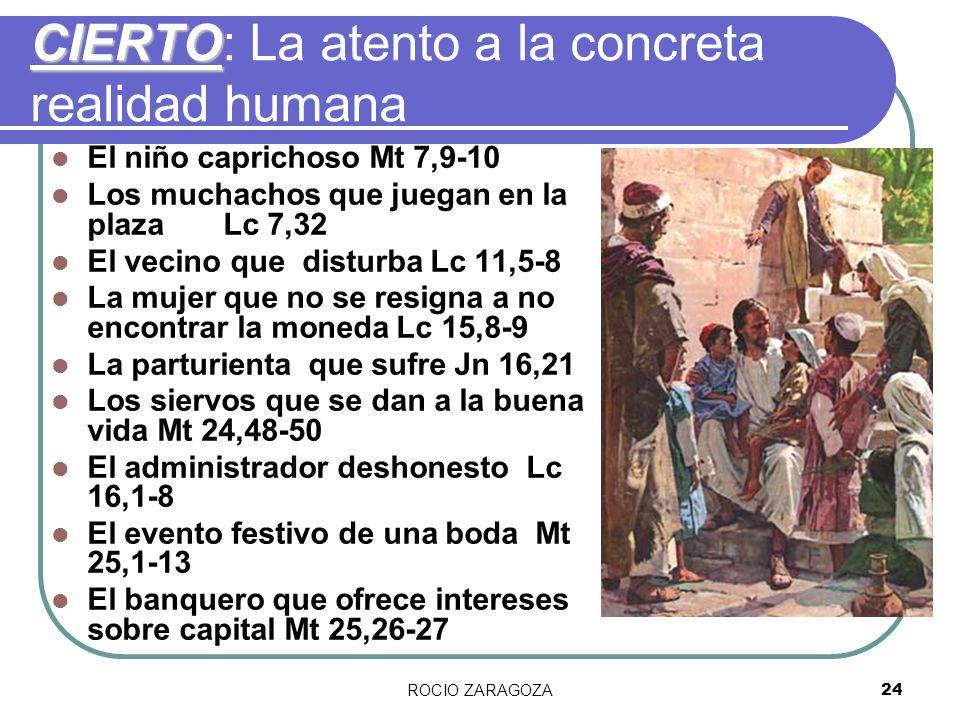 ROCIO ZARAGOZA24 CIERTO CIERTO: La atento a la concreta realidad humana El niño caprichoso Mt 7,9-10 Los muchachos que juegan en la plaza Lc 7,32 El v
