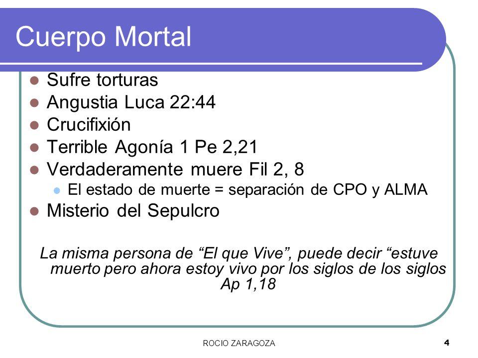 ROCIO ZARAGOZA4 Cuerpo Mortal Sufre torturas Angustia Luca 22:44 Crucifixión Terrible Agonía 1 Pe 2,21 Verdaderamente muere Fil 2, 8 El estado de muer