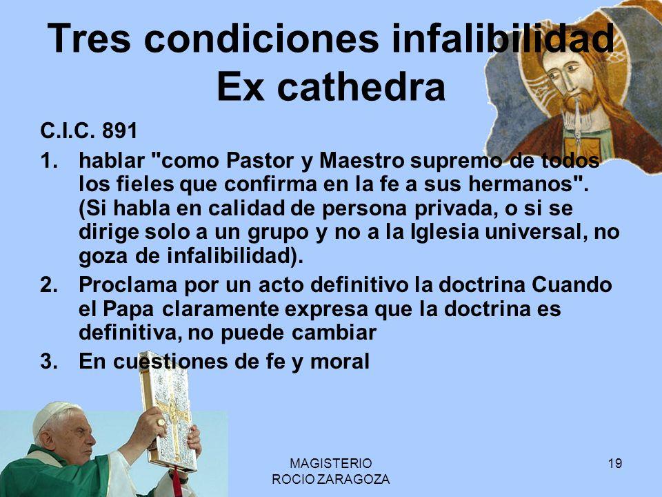 MAGISTERIO ROCIO ZARAGOZA 19 Tres condiciones infalibilidad Ex cathedra C.I.C. 891 1.hablar