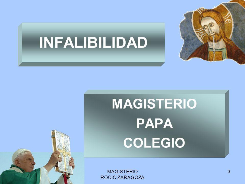 MAGISTERIO ROCIO ZARAGOZA 3 INFALIBILIDAD MAGISTERIO PAPA COLEGIO