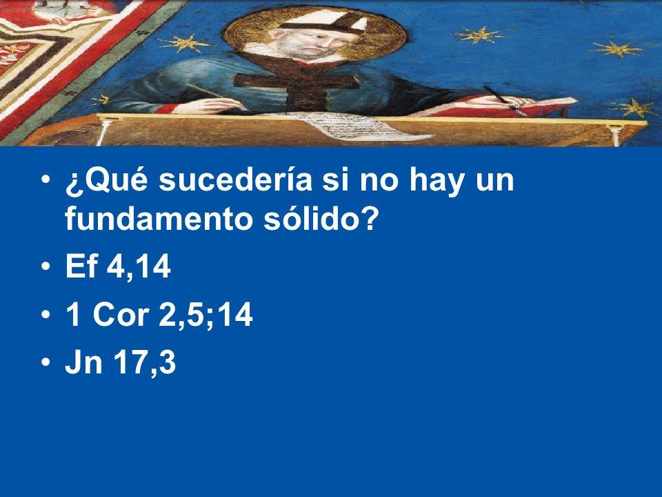 ¿Qué sucedería si no hay un fundamento sólido? Ef 4,14 1 Cor 2,5;14 Jn 17,3