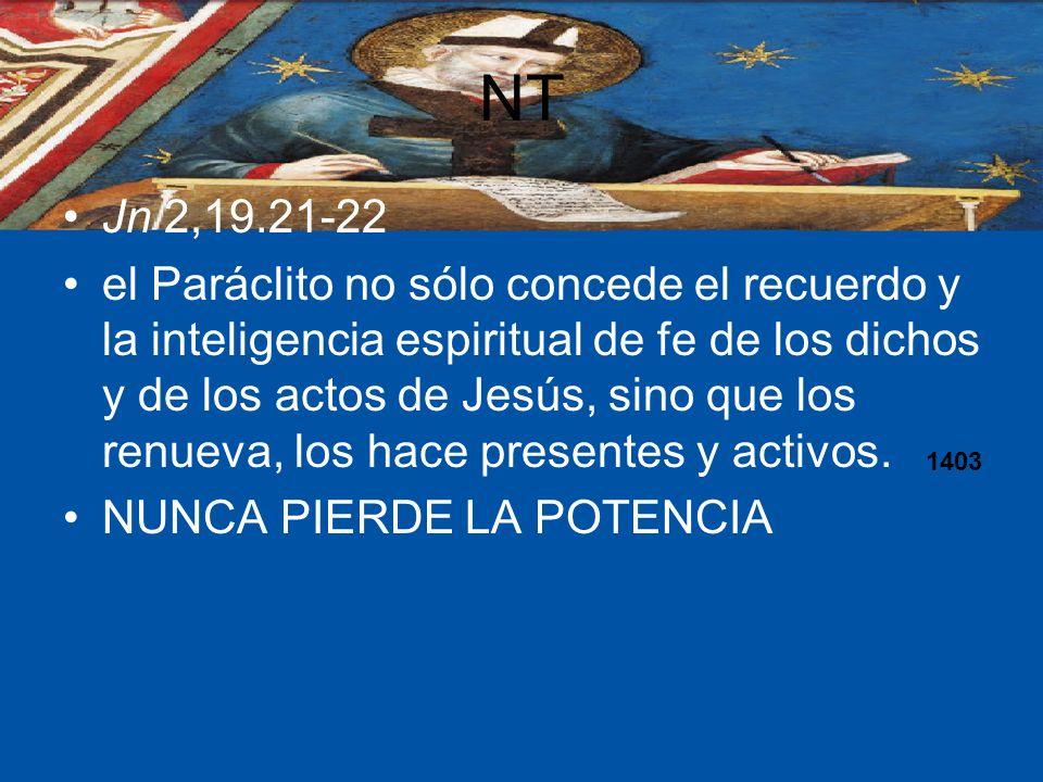 NT Jn 2,19.21-22 el Paráclito no sólo concede el recuerdo y la inteligencia espiritual de fe de los dichos y de los actos de Jesús, sino que los renue