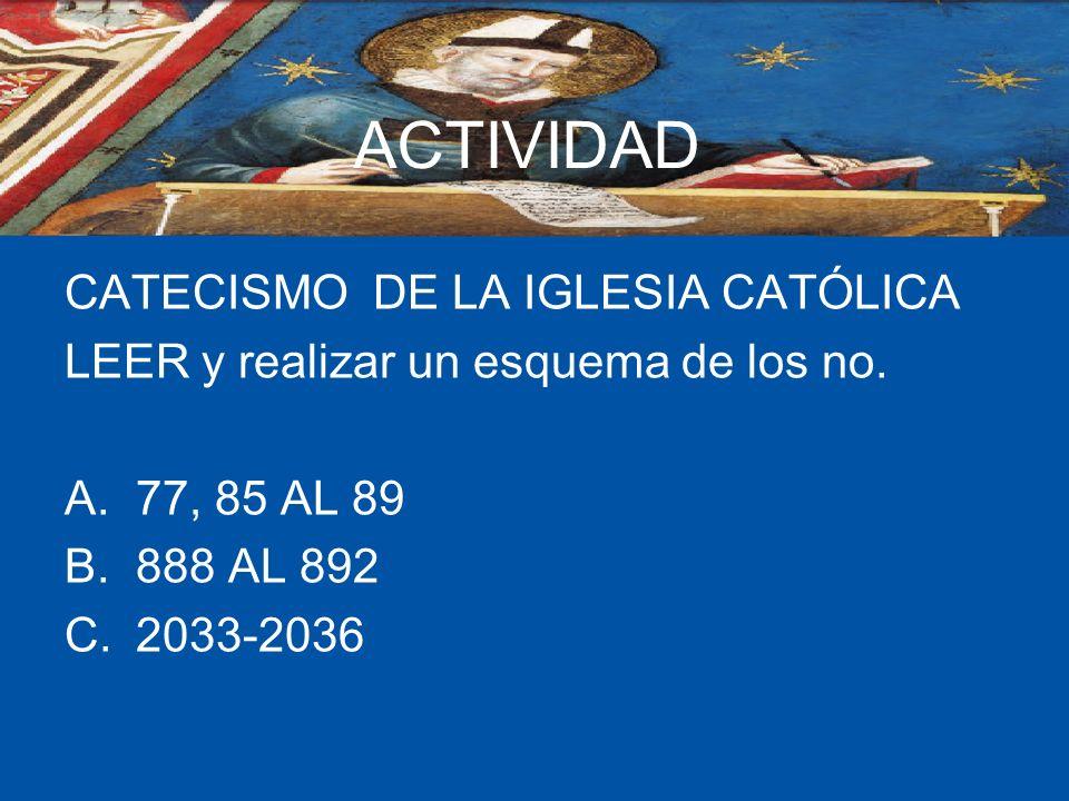 ACTIVIDAD CATECISMO DE LA IGLESIA CATÓLICA LEER y realizar un esquema de los no. A.77, 85 AL 89 B.888 AL 892 C.2033-2036