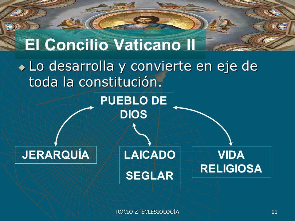 ROCIO Z ECLESIOLOGÍA 11 El Concilio Vaticano II Lo desarrolla y convierte en eje de toda la constitución. Lo desarrolla y convierte en eje de toda la
