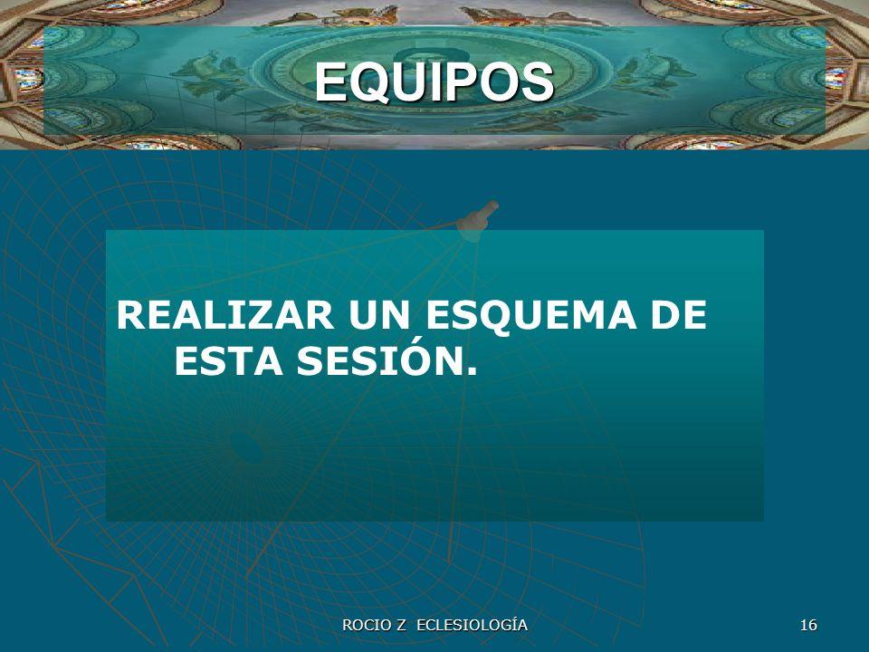 ROCIO Z ECLESIOLOGÍA 16 EQUIPOS REALIZAR UN ESQUEMA DE ESTA SESIÓN.