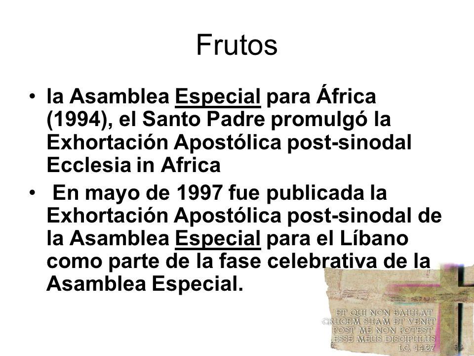 Frutos la Asamblea Especial para África (1994), el Santo Padre promulgó la Exhortación Apostólica post-sinodal Ecclesia in Africa En mayo de 1997 fue