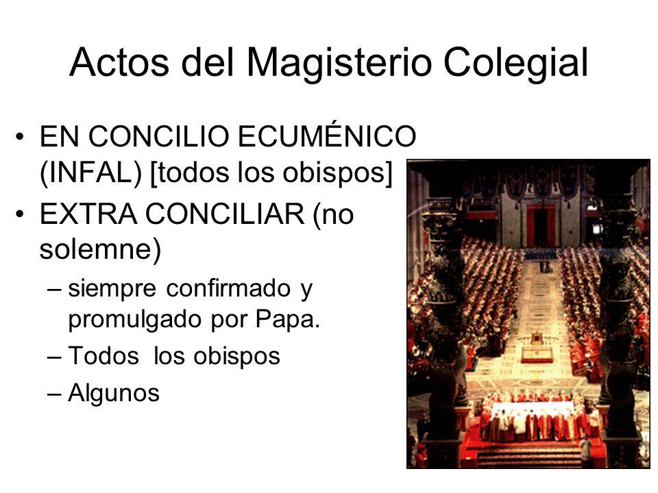 Actos del Magisterio Colegial EN CONCILIO ECUMÉNICO (INFAL) [todos los obispos] EXTRA CONCILIAR (no solemne) –siempre confirmado y promulgado por Papa