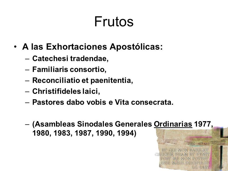 Frutos A las Exhortaciones Apostólicas: –Catechesi tradendae, –Familiaris consortio, –Reconciliatio et paenitentia, –Christifideles laici, –Pastores d