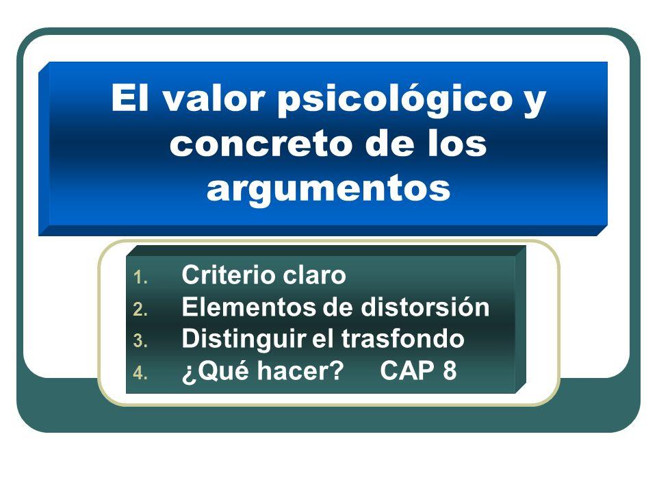 El valor psicológico y concreto de los argumentos 1.
