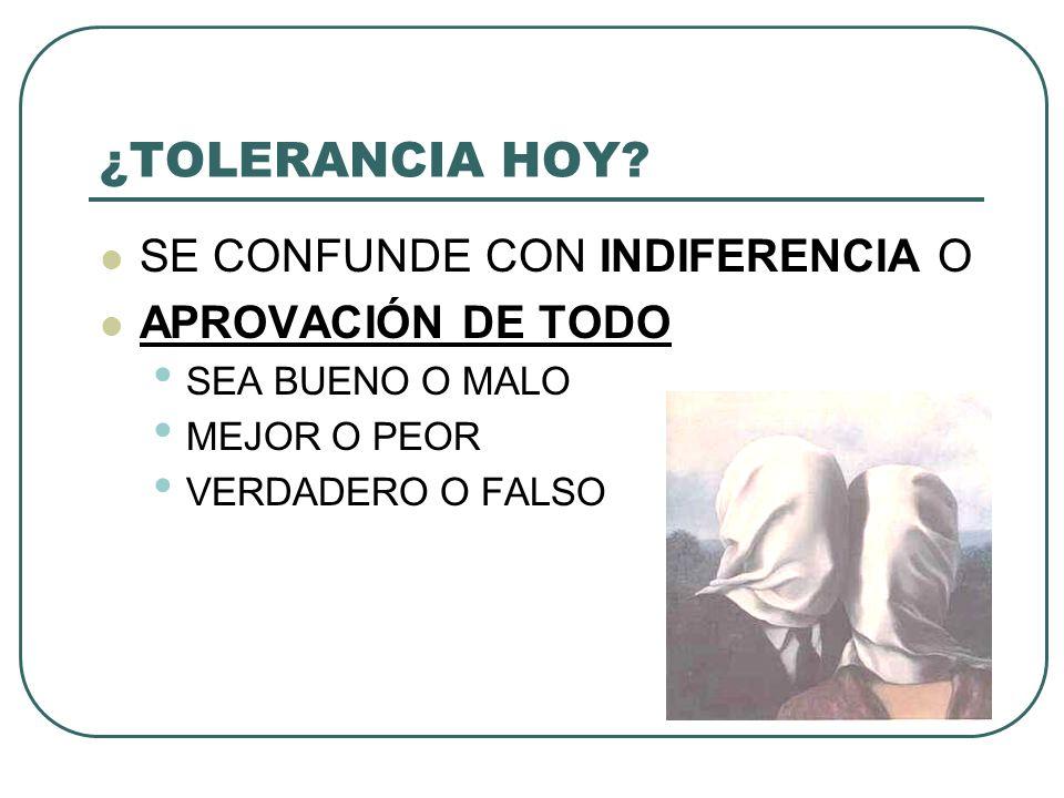 ¿TOLERANCIA HOY.
