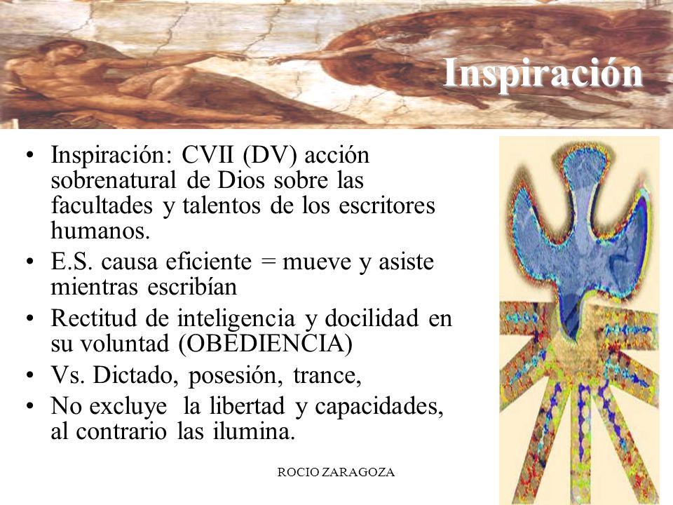 ROCIO ZARAGOZA13 Inspiración Inspiración: CVII (DV) acción sobrenatural de Dios sobre las facultades y talentos de los escritores humanos. E.S. causa