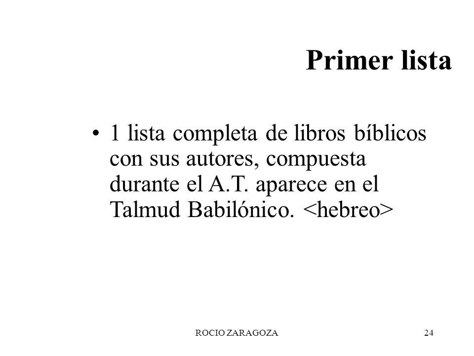 ROCIO ZARAGOZA24 Primer lista 1 lista completa de libros bíblicos con sus autores, compuesta durante el A.T. aparece en el Talmud Babilónico. <hebreo>