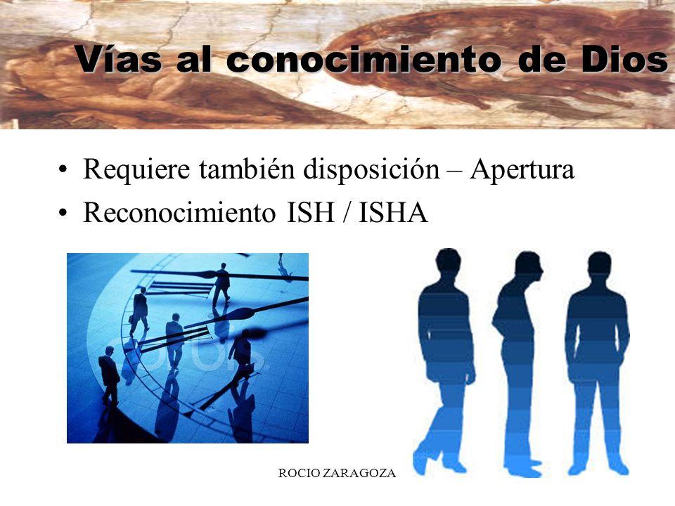 ROCIO ZARAGOZA5 Vías al conocimiento de Dios Requiere también disposición – Apertura Reconocimiento ISH / ISHA