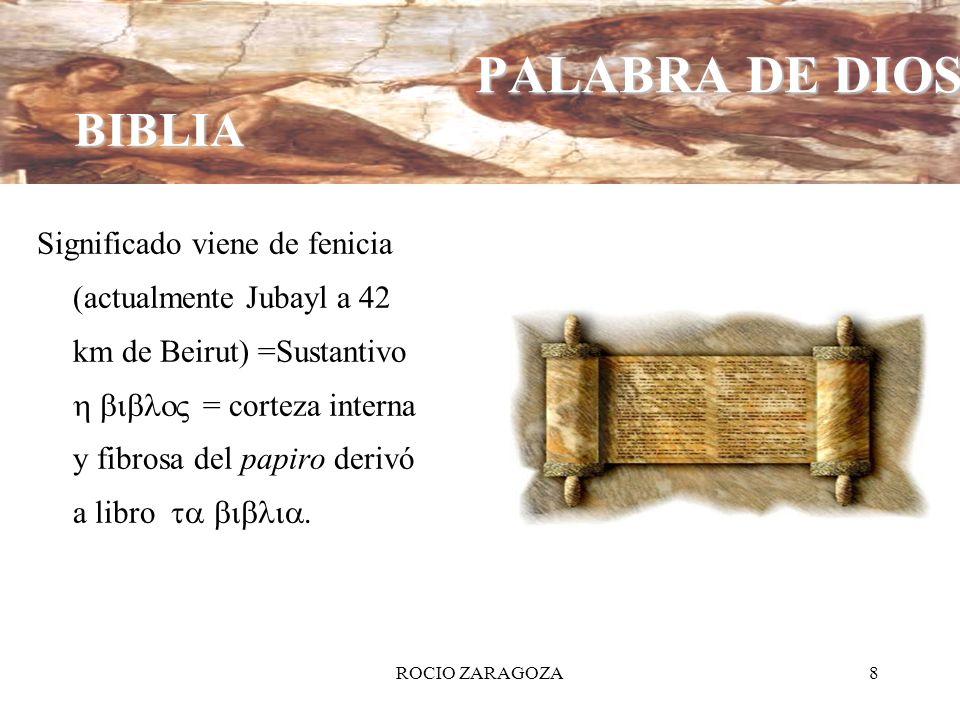 ROCIO ZARAGOZA8 Significado viene de fenicia (actualmente Jubayl a 42 km de Beirut) =Sustantivo = corteza interna y fibrosa del papiro derivó a libro.