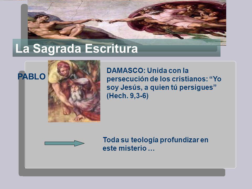 La Sagrada Escritura PABLO DAMASCO: Unida con la persecución de los cristianos: Yo soy Jesús, a quien tú persigues (Hech. 9,3-6) Toda su teología prof