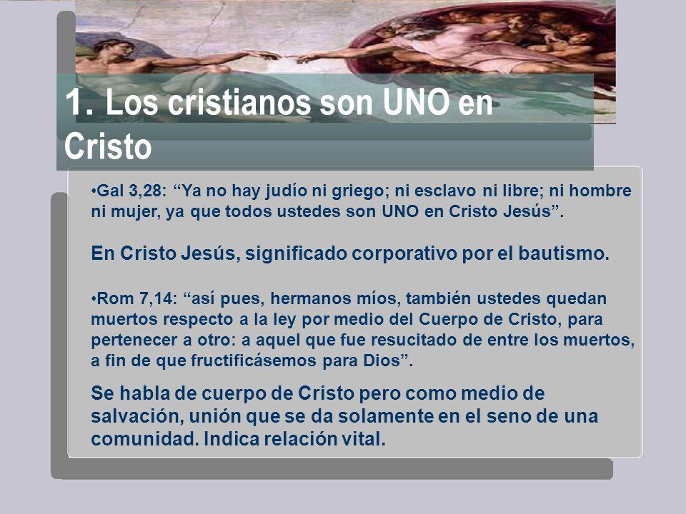 1. Los cristianos son UNO en Cristo Gal 3,28: Ya no hay judío ni griego; ni esclavo ni libre; ni hombre ni mujer, ya que todos ustedes son UNO en Cris