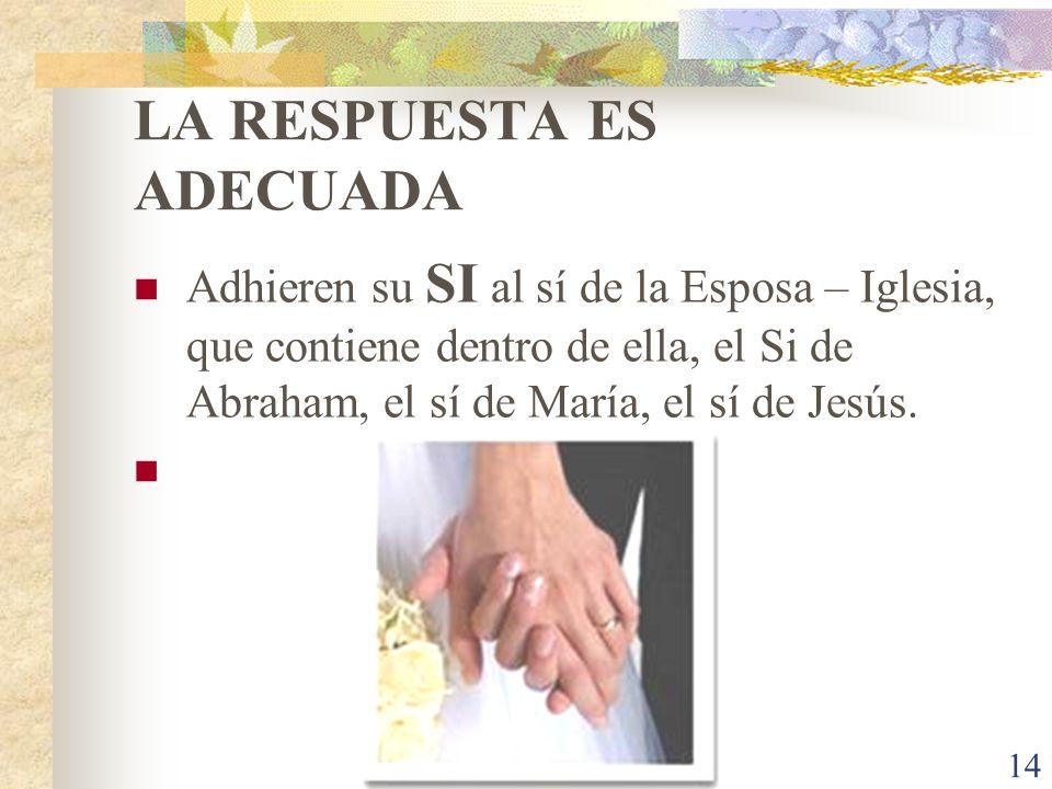 14 LA RESPUESTA ES ADECUADA Adhieren su SI al sí de la Esposa – Iglesia, que contiene dentro de ella, el Si de Abraham, el sí de María, el sí de Jesús.