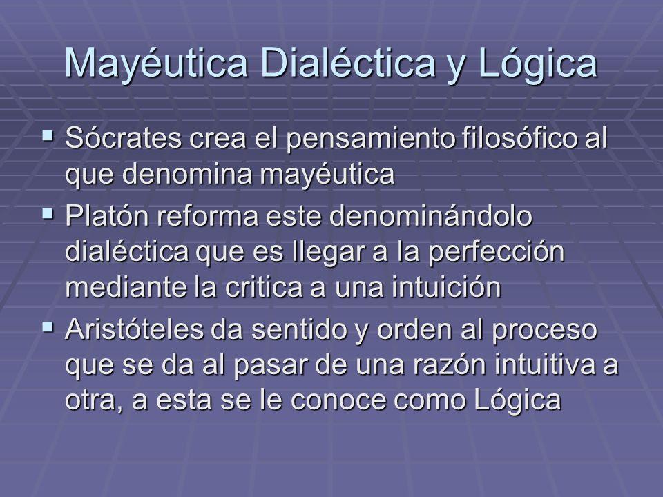 Mayéutica Dialéctica y Lógica Sócrates crea el pensamiento filosófico al que denomina mayéutica Sócrates crea el pensamiento filosófico al que denomin