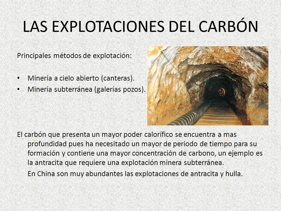 LAS EXPLOTACIONES DEL CARBÓN Principales métodos de explotación: Minería a cielo abierto (canteras). Minería subterránea (galerías pozos). El carbón q