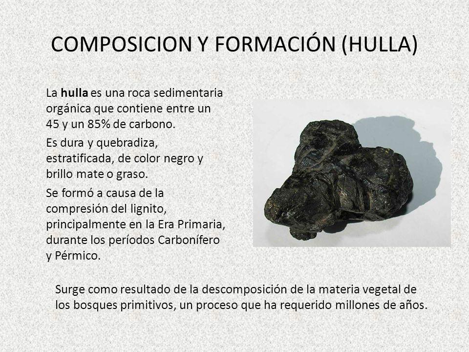 COMPOSICION Y FORMACIÓN (HULLA) La hulla es una roca sedimentaria orgánica que contiene entre un 45 y un 85% de carbono. Es dura y quebradiza, estrati