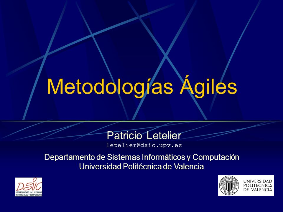 2 www.dsic.upv.es/~letelier Contenidos Introducción Manifiesto ágil Metodologías ágiles Fuentes de información