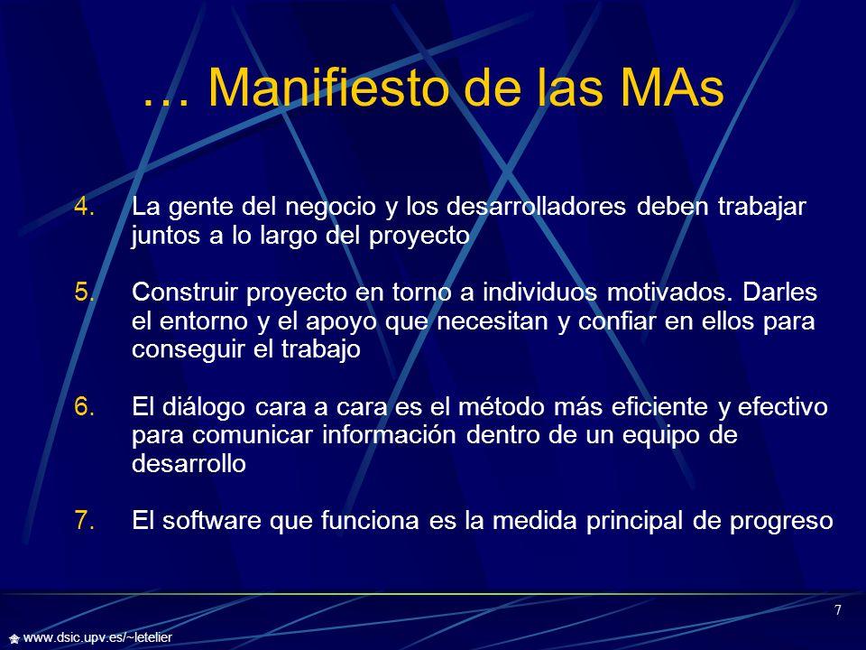 8 www.dsic.upv.es/~letelier … Manifiesto de las MAs 8.Los procesos ágiles promueven un desarrollo sostenible.