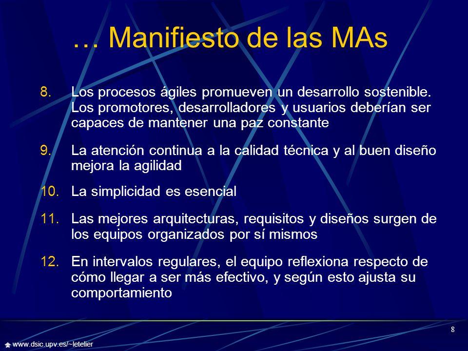 9 www.dsic.upv.es/~letelier Comparación Ágil v/s Tradicional Metodología ÁgilMetodología Tradicional Pocos Artefactos.