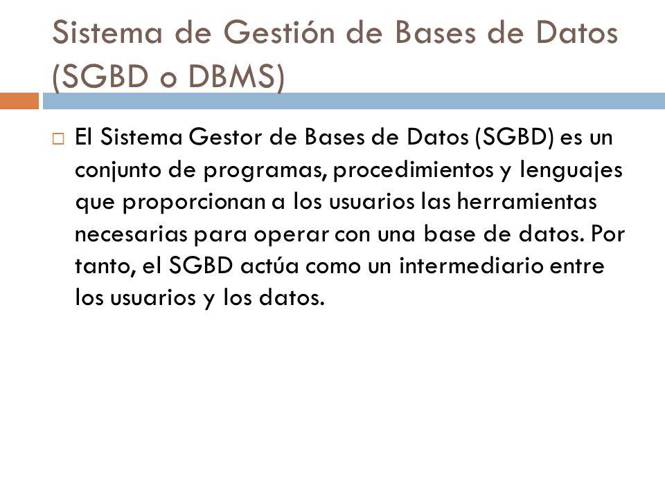 Sistema de Gestión de Bases de Datos (SGBD o DBMS) El Sistema Gestor de Bases de Datos (SGBD) es un conjunto de programas, procedimientos y lenguajes