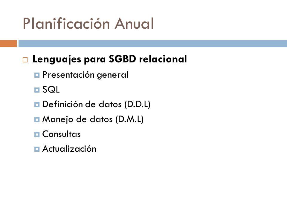 Planificación Anual Lenguajes para SGBD relacional Presentación general SQL Definición de datos (D.D.L) Manejo de datos (D.M.L) Consultas Actualizació