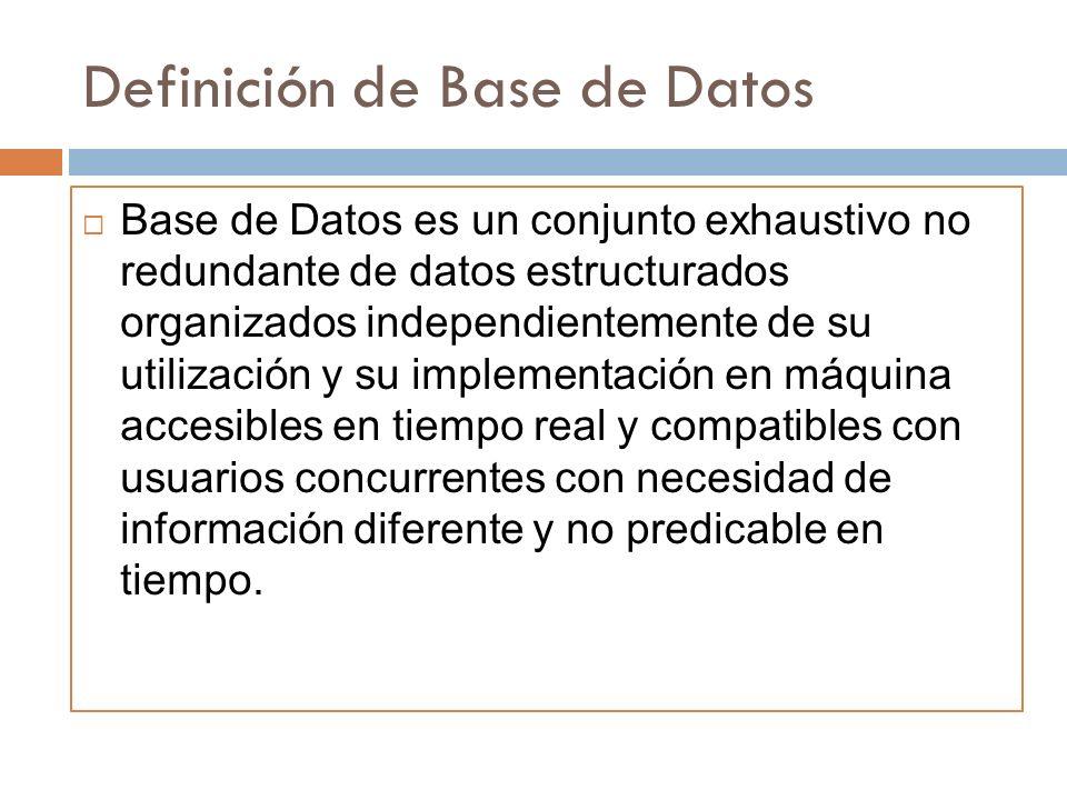 Definición de Base de Datos Base de Datos es un conjunto exhaustivo no redundante de datos estructurados organizados independientemente de su utilizac