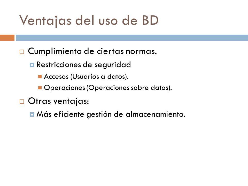 Ventajas del uso de BD Cumplimiento de ciertas normas. Restricciones de seguridad Accesos (Usuarios a datos). Operaciones (Operaciones sobre datos). O