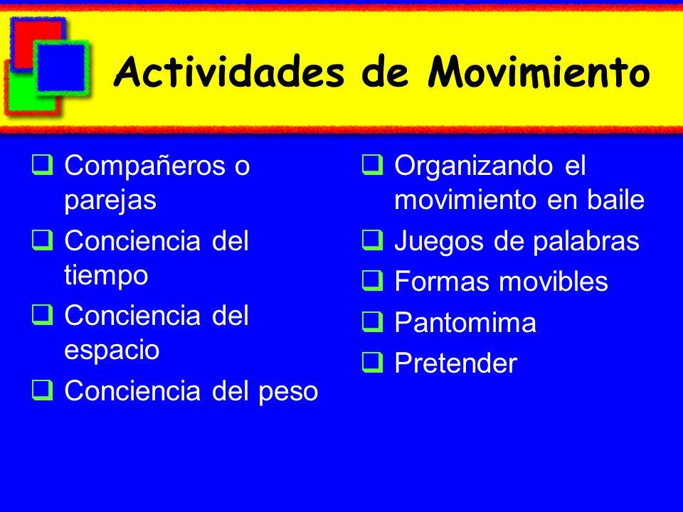 Actividades de Movimiento Compañeros o parejas Conciencia del tiempo Conciencia del espacio Conciencia del peso Organizando el movimiento en baile Jue