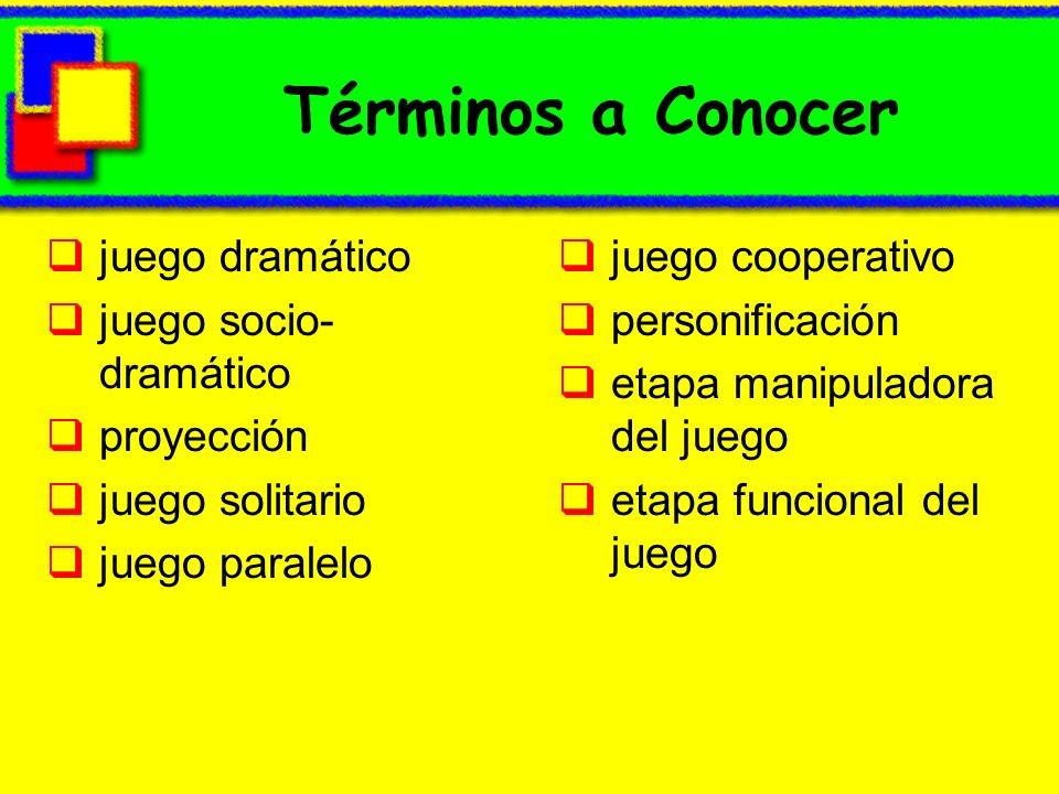 Términos a Conocer juego dramático juego socio- dramático proyección juego solitario juego paralelo juego cooperativo personificación etapa manipulado
