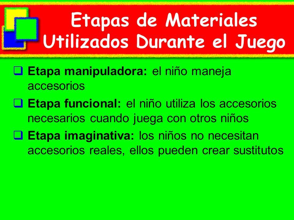 Etapas de Materiales Utilizados Durante el Juego Etapa manipuladora: el niño maneja accesorios Etapa funcional: el niño utiliza los accesorios necesar