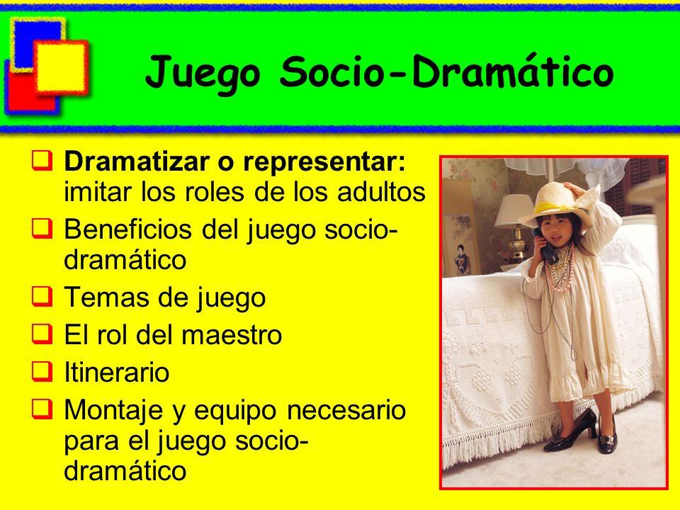 Juego Socio-Dramático Dramatizar o representar: imitar los roles de los adultos Beneficios del juego socio- dramático Temas de juego El rol del maestr