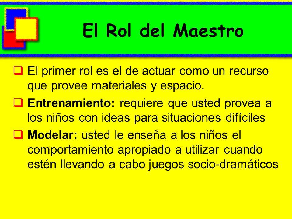 El Rol del Maestro El primer rol es el de actuar como un recurso que provee materiales y espacio. Entrenamiento: requiere que usted provea a los niños