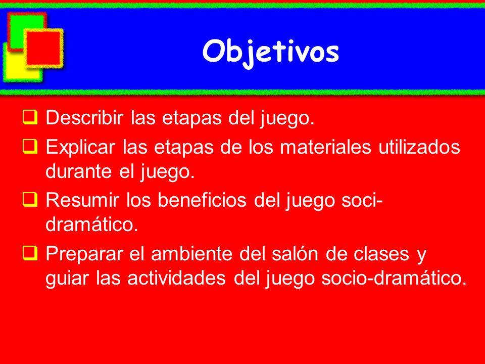 Objetivos Describir las etapas del juego. Explicar las etapas de los materiales utilizados durante el juego. Resumir los beneficios del juego soci- dr