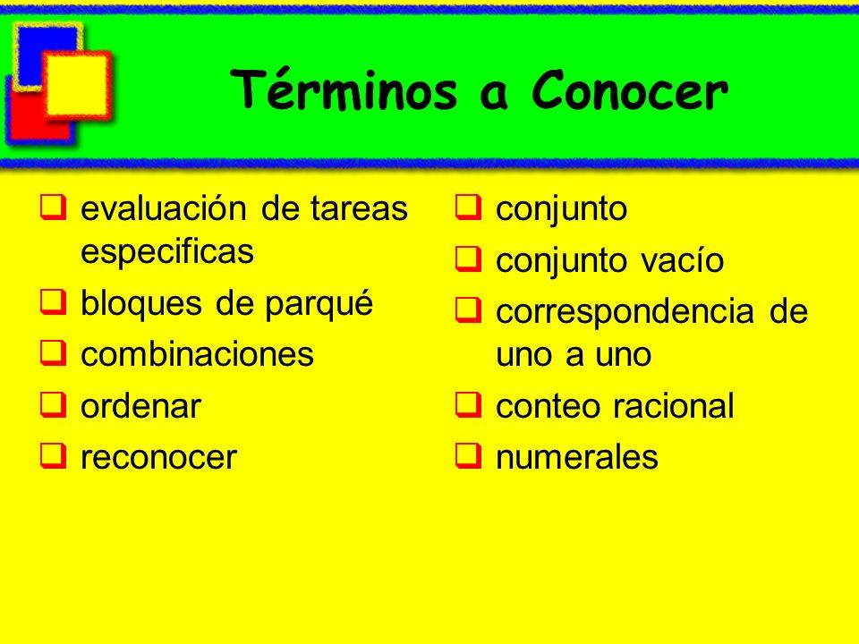 Términos a Conocer evaluación de tareas especificas bloques de parqué combinaciones ordenar reconocer conjunto conjunto vacío correspondencia de uno a