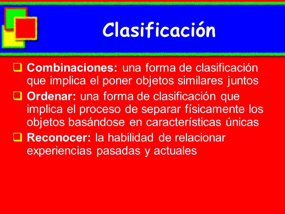 Clasificación Combinaciones: una forma de clasificación que implica el poner objetos similares juntos Ordenar: una forma de clasificación que implica