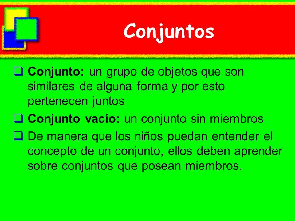 Conjuntos Conjunto: un grupo de objetos que son similares de alguna forma y por esto pertenecen juntos Conjunto vacío: un conjunto sin miembros De man