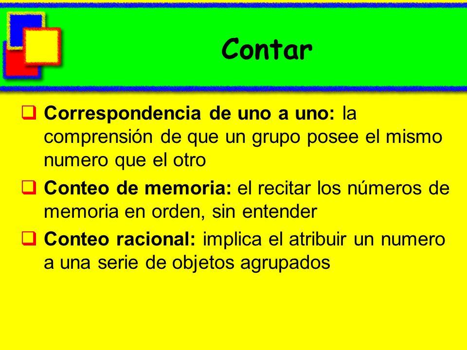 Contar Correspondencia de uno a uno: la comprensión de que un grupo posee el mismo numero que el otro Conteo de memoria: el recitar los números de mem